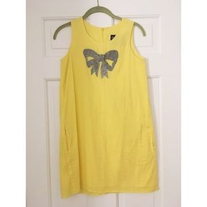 Yellow Beaded Bow Tunic Shift Dress